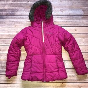 Girls Columbia Pink Hooded Puffer Coat M